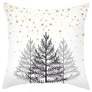 Winter Christmas Tree Plush Throw Pillow Cover H